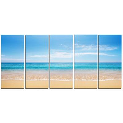 Designart Wide Blue Sky Over Beach Seashore PhotoCanvas Print - 5 Panels