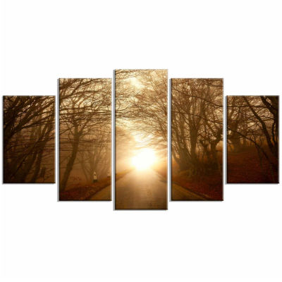 Designart Path To Sunlight In Autumn Forest Landscape Photography Canvas Print - 5 Panels