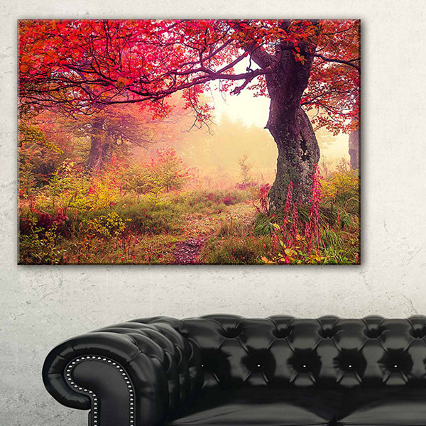 Designart Red Autumn Tree In Carpathian LandscapePhotography Canvas Print