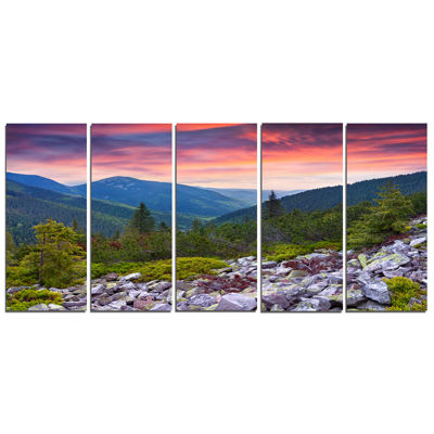 Design Art Stones Under Summer Sunset Landscape Photo Canvas Art Print - 5 Panels