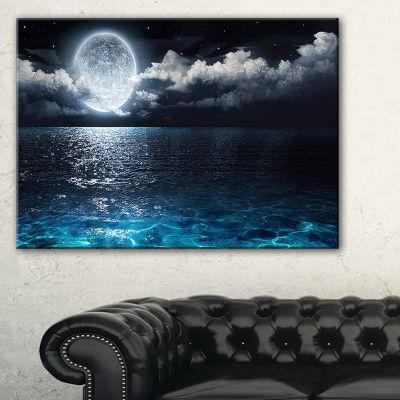 Designart Romantic Full Moon Over Sea Canvas Art Print