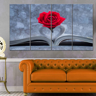 Designart Red Rose Inside The Book Floral Canvas Art Print - 4 Panels