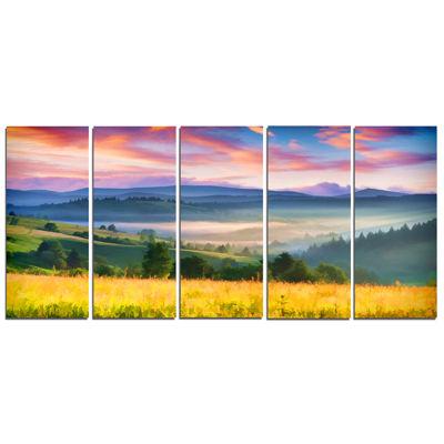Designart Beautiful Mountainous Region Landscape Painting Canvas Art Print - 5 Panels