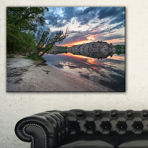 Designart Sunset At River With Rock Landscape Photo Canvas Art Print