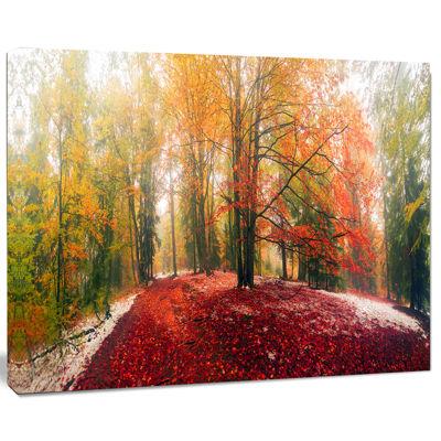 Designart Alpine Forest After Snowfall Landscape Photo Canvas Art Print