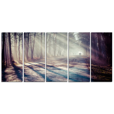Design Art Strong Sunbeams In Thick Forest Landscape Photography Canvas Print - 5 Panels