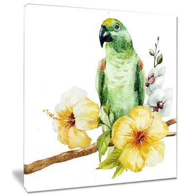 Design Art Parrot With Flowers Watercolor Painting Canvas Wall Art