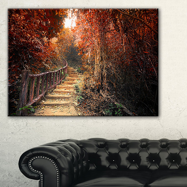 Design Art Stairway Through Red Fall Forest Landscape Photography Canvas Print