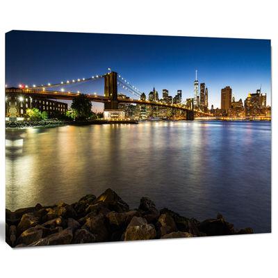 Designart Distant View Of Brooklyn Bridge Cityscape Canvas Print