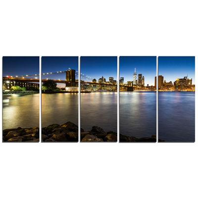 Designart Distant View Of Brooklyn Bridge Cityscape Canvas Print - 5 Panels