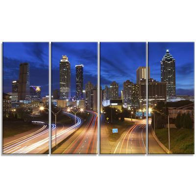 Design Art Atlanta Skyline Twilight Blue Hour Cityscape Canvas Print - 4 Panels