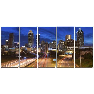 Designart Atlanta Skyline Twilight Blue Hour Cityscape Canvas Print - 5 Panels