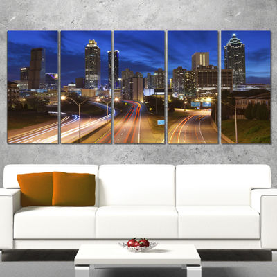 Designart Atlanta Skyline Twilight Blue Hour Cityscape Canvas Print - 5 Panels