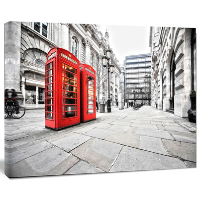 Design Art Phone Booths On Street Cityscape Canvas Print
