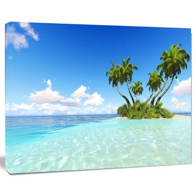 Designart Corals Island Under Blue Sky Seascape Canvas Art Print