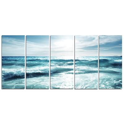 Design Art Seychelles Beach At Sunset Seascape Canvas Art Print - 5 Panels