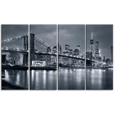 Designart Panorama New York City At Night Cityscape Canvas Print - 4 Panels