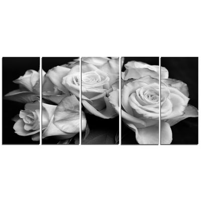 Designart Bunch Of Roses Black And White Floral Canvas Art Print - 5 Panels