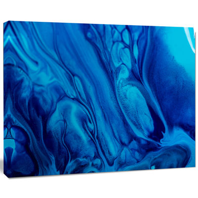 Designart Dark Blue Abstract Acrylic Paint Mix ArtCanvas Wall Art