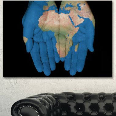 Design Art African Map In Our Hands Abstract Canvas Artwork