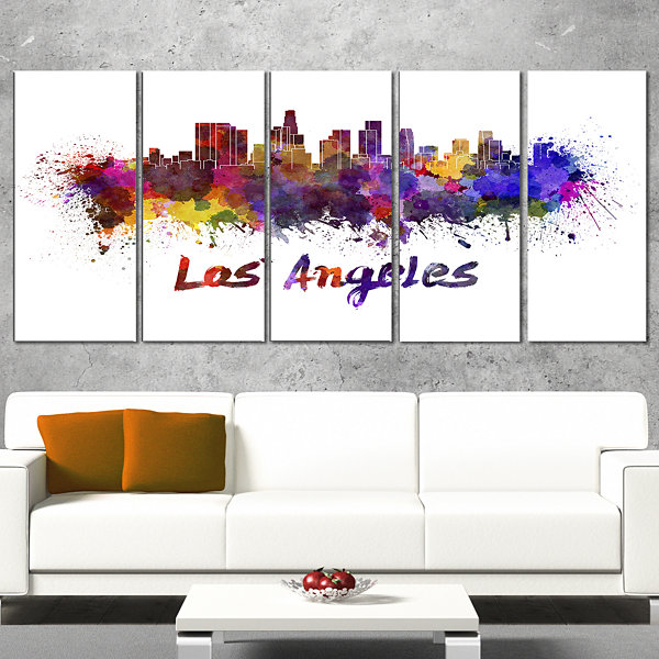 Designart Los Angeles Skyline Cityscape Canvas Artwork Print - 5 Panels