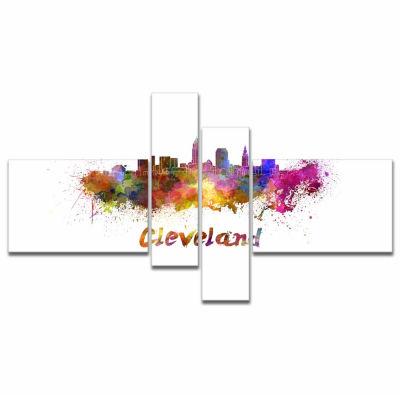 Designart Cleveland Skyline Cityscape Canvas Artwork Print - 4 Panels