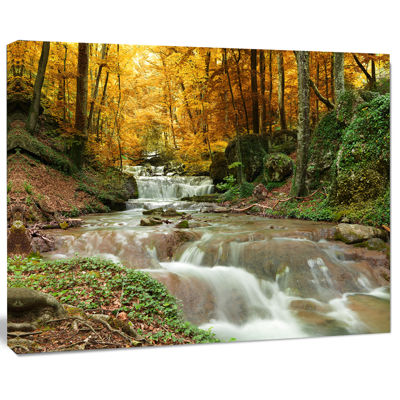 Designart Forest Waterfall With Yellow Trees Landscape Canvas Art Print