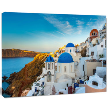 Design Art Beautiful Santorin Houses Greece Cityscape Art Print On Canvas