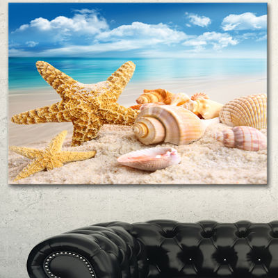 Design Art Starfish And Seashells On Beach Seashore Photo Canvas Art Print