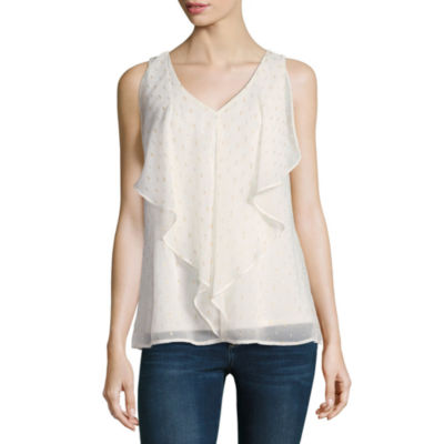by&by Sleeveless Chiffon Dress Shirt-Juniors