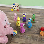 Hey! Play! Kids Bowling Set with Plush Animal Pins