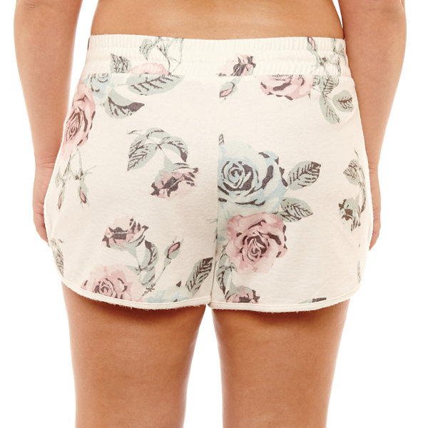 Fleece Floral Soft Shorts-Juniors Plus