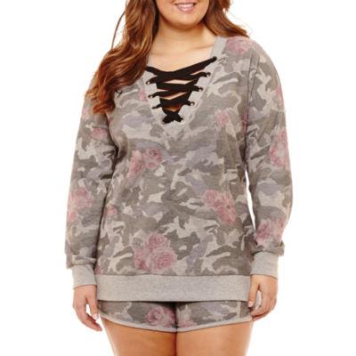 Long Sleeve Floral Fleece Sweatshirt-Juniors Plus