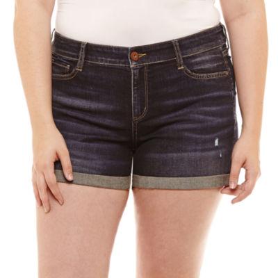 Arizona 2 1/2 inch Roll Cuff Denim Shorts-Juniors Plus