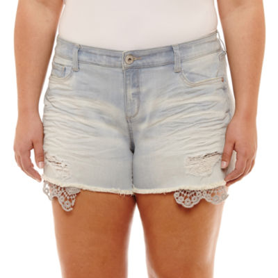 Arizona 2 1/2 inch Raw Edge Denim Shorts-Juniors Plus