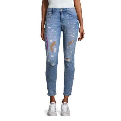 Arizona Paint Splatter Ankle Jeans - Juniors