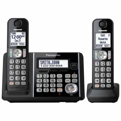 Panasonic KX-TG3752B DECT 6.0 Cordless Telephone with Answering Machine and Dual Keypad - 2 Handsets