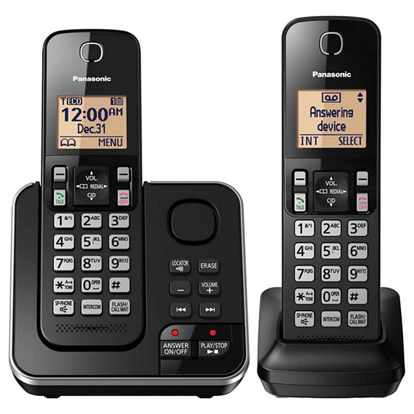 Panasonic KX-TGC362B DECT 6.0 Expandable Cordless Phone with Answering Machine - 2 Handsets