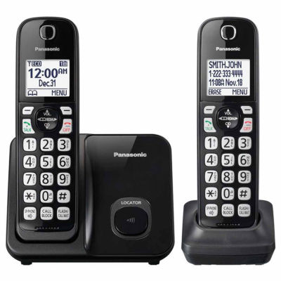 Panasonic KX-TGD512B DECT 6.0 Expandable Digital Cordless Phone with 2 Handsets