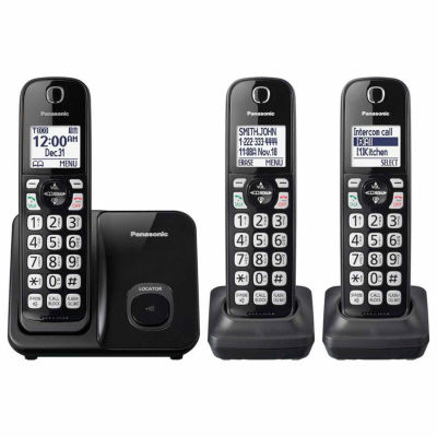 Panasonic KX-TGD513B DECT 6.0 Expandable Digital Cordless Phone with 3 Handsets