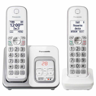 Panasonic KX-TGD532W DECT 6.0 Expandable Cordless Phone with Call Block and Answering Machine - 2 Handsets