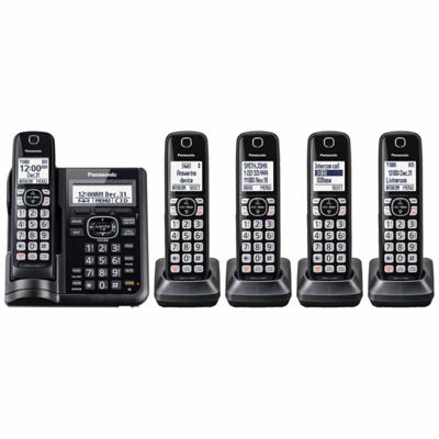 Panasonic KX-TGF545B DECT 6.0 Cordless Telephone with Answering Machine and Dual Keypad - 5 Handsets