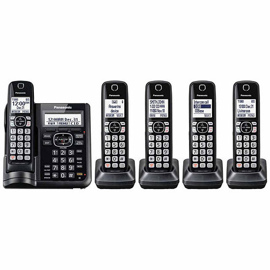 Panasonic KX-TGF545B DECT 6.0 Cordless Telephone with Answering Machine and Dual Keypad - 5 Handsets