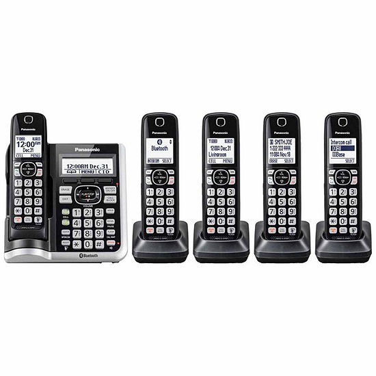 Panasonic KX-TGF575S Link2Cell Bluetooth Cordless Phone with Answering Machine - 5 Handsets