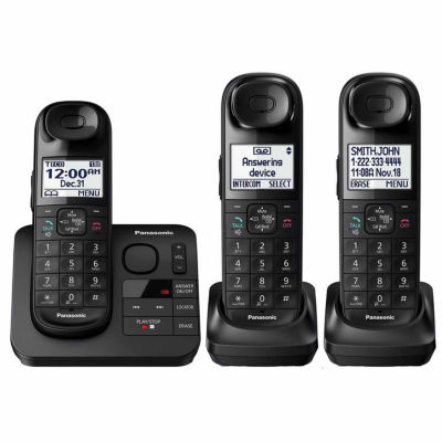 Panasonic KX-TGL433B DECT 6.0 Expandable Cordless Phone with Comfort Shoulder Grip and Answering Machine - 3 Handsets