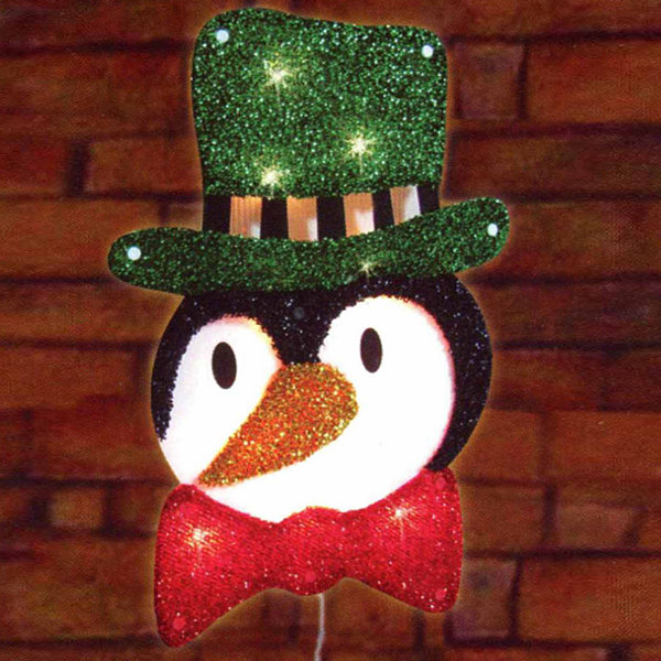"16"" Lighted Tinsel Penguin in Top Hat Christmas Window Silhouette Decoration"""