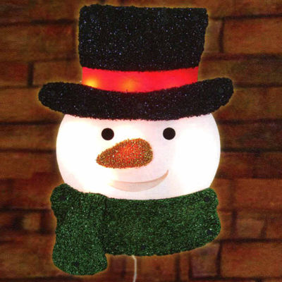 "16"" Lighted Tinsel Snowman with Top Hat Christmas Window Silhouette Decoration"""