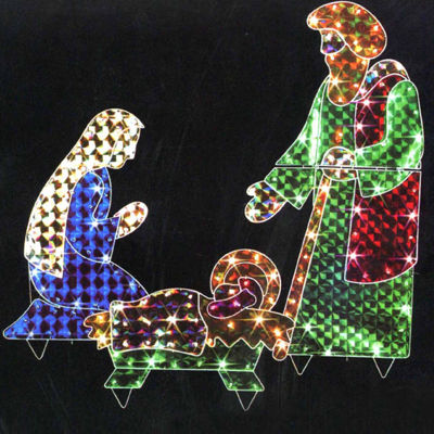 3-Piece Holographic Lighted Christmas Nativity Set Yard Art Decoration 42""