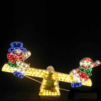 """48"""" Lighted Sparkling Holographic Snowmen on See Saw Christmas Yard Art Decoration"""""""