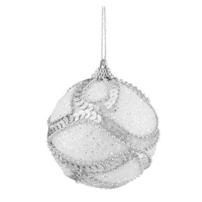 "3ct White Holographic Sequined and Silver Beaded Shatterproof Christmas Ball Ornaments 3"" (75mm)"""